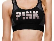 Victoria's Secret Pink NEW Logo Ultimate Unlined Strappy Sports Bra Black Small