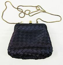 Vintage SASHA Blue Satin Weave Gold Tone Clasp Evening Bag Shoulder Bag Purse