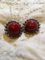 Vintage Pewter And Coral Glass Stine Button Clip On Earrings