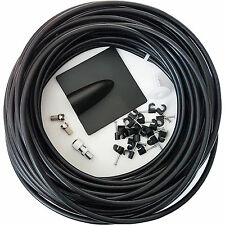 25M Black RG6 Coaxial Cable Kit -For Aerial /Satellite Dish Install- TV/Freesat