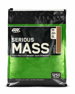 OPTIMUM NUTRITION SERIOUS MASS Chocolate Peanut Butter 12 lb Protein Powder 1/22