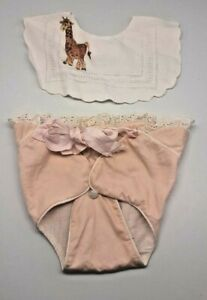 Vtg baby eyelet bib and pink diaper cover