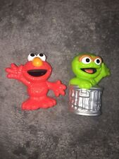 SESAME STREET Friends Elmo &Oscar PLASTIC FIGURE TOY CAKE TOPPER - 2.5 In. Tall