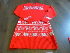 """RED and WHITE STAG SNOW FLAKE WINTER JUMPER DRESS 34"""" chest SMALL  MOTHERS DAY"""