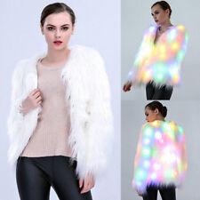 Womens Faux Fur LED Light Coat Jacket Luminous Xmas Party Parka Tops Outwear BGO