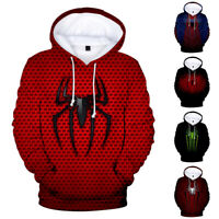 Spiderman Mens Hoodie Cotton Crew Neck 3D Print Tops Pullover Sweather Marvel