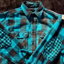 Neon Turquoise Blue Flannel Thick Faded Elbow Patches Shirt Jacket Buffalo Check