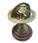 Antique Brass Brown Armillary Globe Mini Wood Base Desktop Decorative