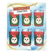 VTG Christmas Dan Dee Santa Felt Terry Cloth Covers Coasters 12 pieces Kitsch