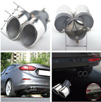 Dual Exhaust Pipe Stainless Steel Y-shape Car Rear Tail Muffler Tip Silver Color