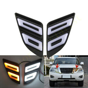 LED front bumper fog lamp DRL day running light For Nissan Armada Y62 2012-2020