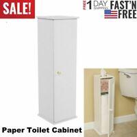 Narrow Bathroom Storage Cabinet Toilet Paper Holder Tissue Slim Stand Door Tower