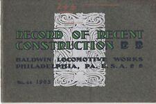 Record of Recent Construction No.44, 1903 Baldwin Locomotive -1/3 OFF !