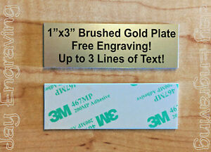 Name Tag Sign Badge Custom Engraved 1x3 Plastic Brushed Metal Trophy Plate Adhesive Backed Engraving Plaque Urn Keepsake Personalized Scrapbook Small Business Home Placard Brushed Gold
