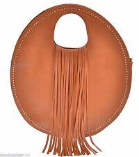 Handbag Purse Long Fringe Faux Leather Unique Design Cogac Brown New