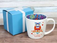 Owl You Need Is Love  - Inside Out Mug Ceramic Owls Hearts Gift Boxed