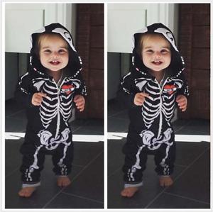 1 Baby Toddler Kids Skeleton Fancy Dress Bodysuit Romper Tutu Halloween Costume