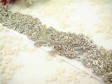 Stunning Crystal Bridal Belt Pearl Wedding Sash Accessories Any Colour Ribbon