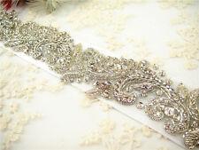 Stunning Crystal Bridal Belt Pearl Wedding Sash Accessories Any Colour Ribbon