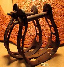 1880's High Back SADDLE Cowboy STIRRUPS HEAVY DUTY Slotted Style IRON