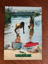 """Greetings from Suriname Postcard """"Wash-day at Albina"""" Posted with 2 Stamps"""