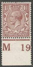 1912  1 1/2d  CHOCOLATE  N18(7)  M19(P)  CONTROL  WITH R.P.S. CERT.  93075  M.M.