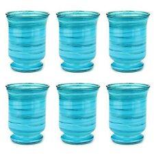 6er Set Kerzenglas Blau Glas Höhe 14 cm Deko Windlicht Teelichtglas Kerzengläser