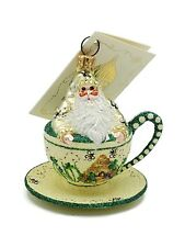 Patricia Breen Tea for Two Bees Holiday Tree Ornament Tea Party Cup Yellow