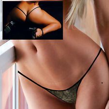 SEXY MICRO THONGS BLACK LEATHER LIKE FLORAL PATTERN Y BACK PARTY GOGO SEX DANCER