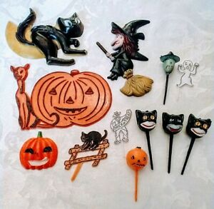 12 pc Vintage Plastic HALLOWEEN Cake Toppers & CUPCAKE PICKS Witch Black Cat etc
