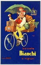 POSTCARD ITALIAN BIANCHI BICYCLE WITH PIRELLI TIRES MICH ARTIST-SIGNED
