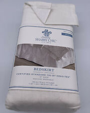 "New Simply Shabby Chic Embroidered Linen Blend Full Size Bedskirt White 15"" Drop"