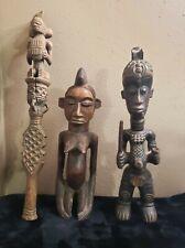 Antique Wood Angola Africa Tribal Fertility Statue s & Staff