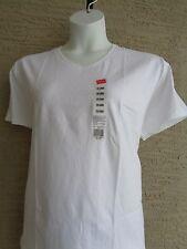 Womens Hanes Cotton S/S V  Neck Tee Shir 2X White