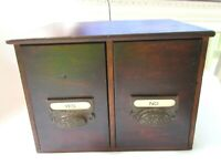 SM ANTIQUE WOOD FILE CABINET COUNTRY CUPBOARD 2 DRAWER PRIMITIVE MAIL BOX SPICE