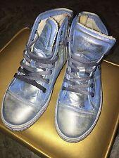 Metallic Blue/Silver Leather Hightop Sneakers