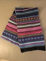 ECHO Soft Scarf Knitted Multicolor Striped Pattern Pink Blue Purple Black Gray