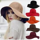 Women Floppy Wide Brim 65%Wool Felt Fedora Cloche Hat Cap Cotton-Blend Hats GA~