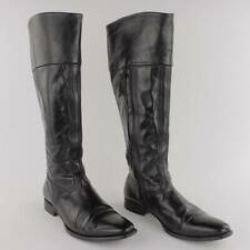 n.d.c. Women Hand Made Knee High Black Leather Riding boots Size 37.5 US 7.5