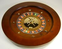 "Roulette Wheel 18"" WOOD Professional W/ Rake and Rerversable BLACK JACK LAYOUT"