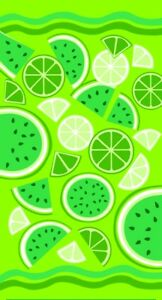 "34""x64"" Fancy Limes & Lemons Premium Terry Velour Beach Towel"