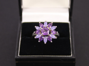 Amethyst Cluster Ring Sterling Silver Ladies Size N Stunning 925 4g Kb9