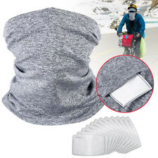 Seamless Neck Gaiter Face Motorcycle Bandanas Cycling 2 Pcs Scarf with 10Filters
