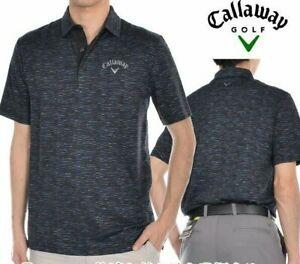 Callaway Golf Men's Opti-Dri Jacquard Polo Shirt Black Caviar Stretch XXL 2XL