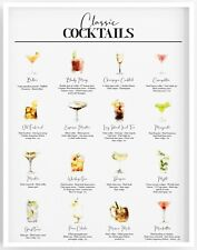 Cocktails Poster,Cocktail Recipe Print,Alcohol Art,Bar Poster,Kitchen Print