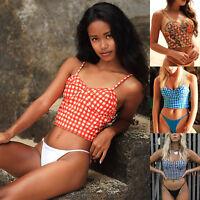 Womens Padded Crop Tops Bikini Set Swimwear High Waist Thong Beachwear Swimsuit
