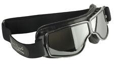 Motorradbrille AVIATOR T2 Classic Brille  Leder schwarz Gläser get  Rahmen chrom