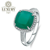 Natural Green Agate Gemstone Solid 925 Sterling Silver Cocktail Engagement Ring