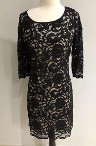 Portman's Women's Black Fitted Lace Pencil Evening Cocktail Wear Dress Size 12