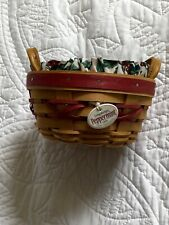 Longaberger 1999 Peppermint Basket Protector Tie-on 3pc set Tree Trimming Green